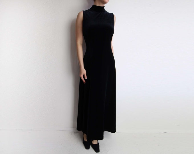 Vintage Black Velvet Dress Womens Medium 1990s Mock Neck Sleeveless Gown