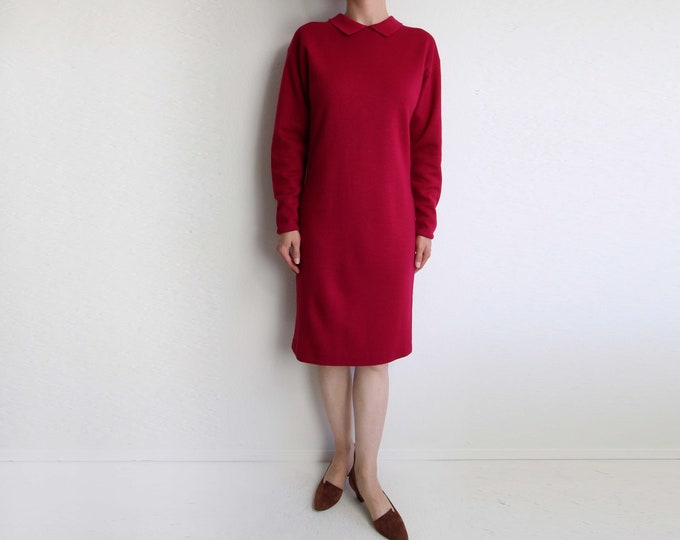 Vintage Sweater Dress Womens Knit Dress Longsleeve Raspberry Pink 1980s Small