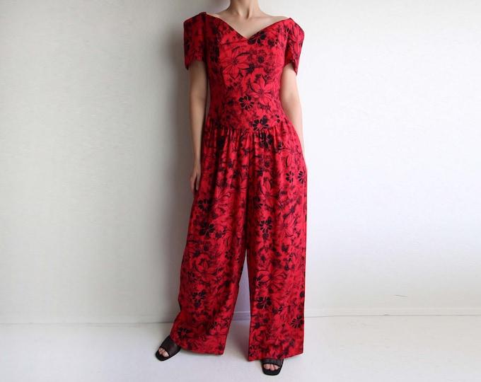 Vintage Jumpsuit 1980s Tropical Print Red Small Medium
