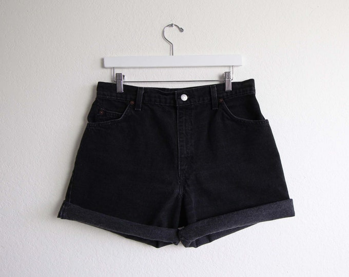 Vintage Black Denim Shorts Levis Jeans Relaxed Made in USA Womens Large 31 Waist