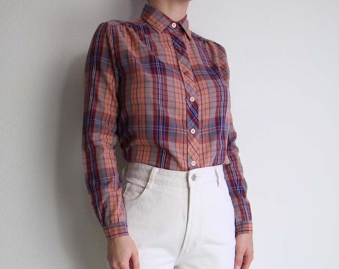 Vintage Womens Plaid Shirt Small Pink Longsleeve Womens Top 1980s Blouse