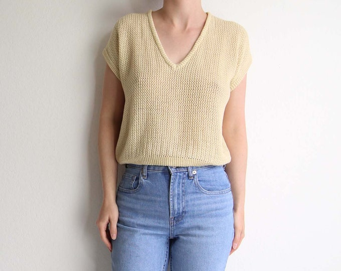 Vintage Cropped Sweater Open Knit Top Crop Top 1980s Womens Medium