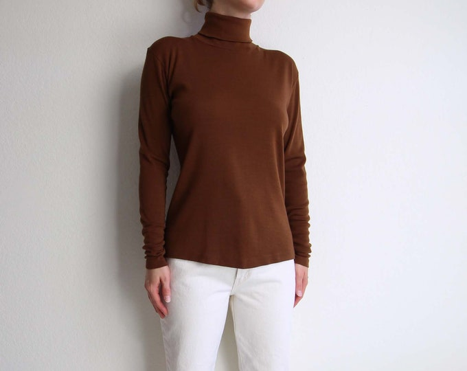 Vintage Turtleneck Brown Womens Top Small Longsleeve Shirt