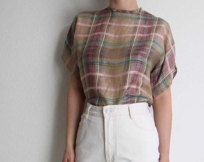 Vintage Plaid Shirt Womens Top Small 1980s Pink Plaid Blouse