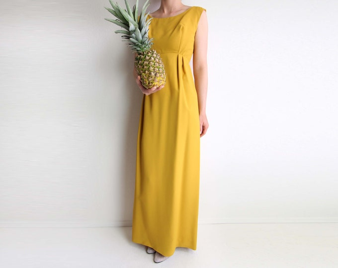 Vintage Dress Yellow Gown 1960s Formal Sleeveless Womens Small Long