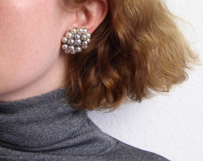 Vintage Earrings Beaded Cluster Silver Pearl Round Clip Ons