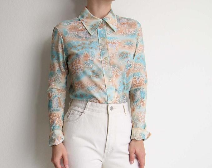 Vintage 1970s Shirt Womens Top Printed Blouse Medium Longsleeve