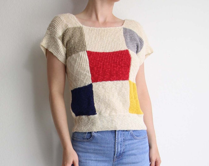 Vintage Knit Top Colorblock 1980s Sweater Womens XS