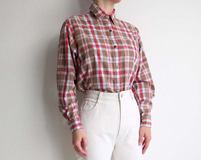 Vintage Womens Plaid Shirt 1980s Diane Von Furstenberg Blouse Womens Top Medium Longsleeve