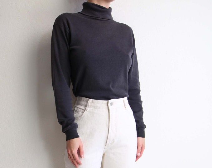 Vintage Black Turtleneck Unisex Womens Top Mens Longsleeve Shirt