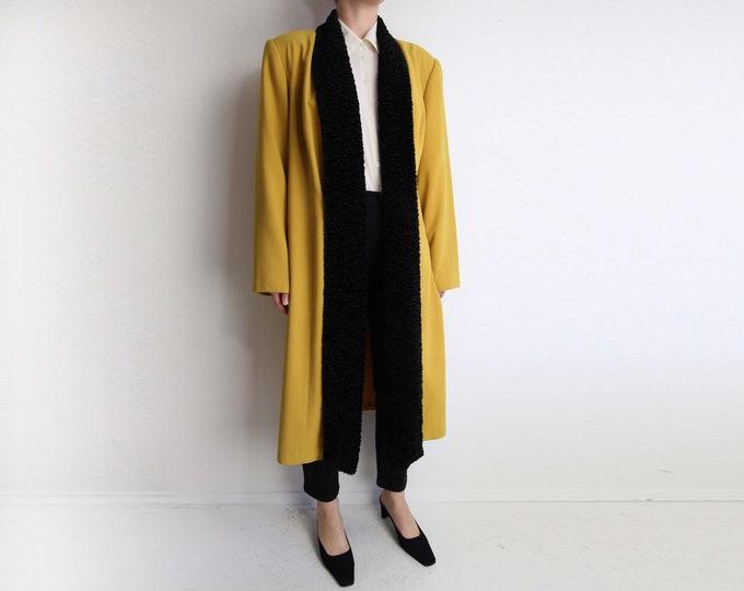 Vintage Duster Jacket Womens Mustard Yellow Open Jacket Long Large