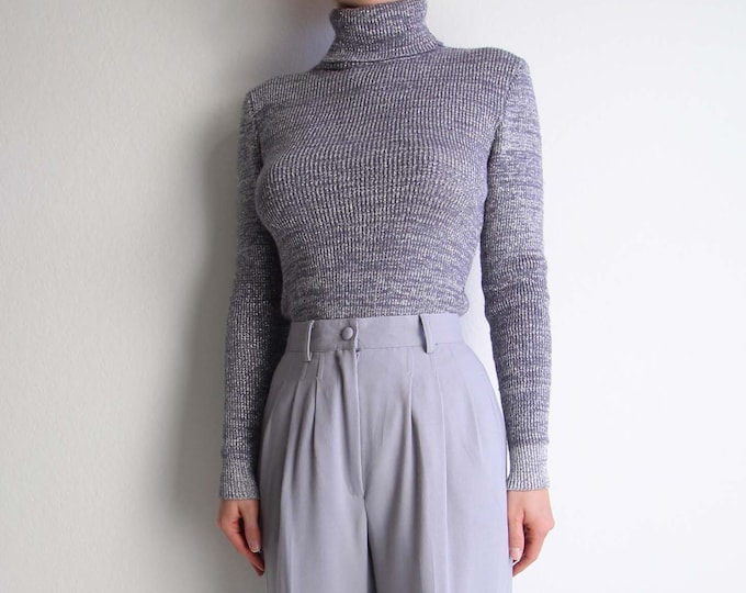 Vintage Silver Turtleneck Womens 1970s Knit Sweater Extra Small