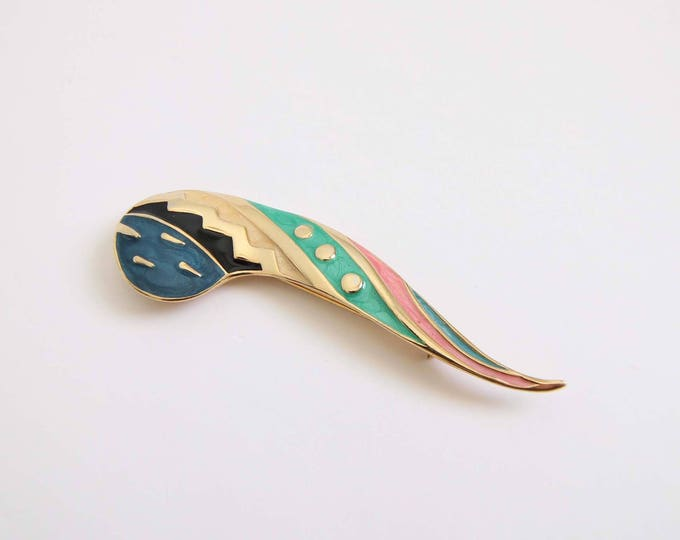 Vintage Brooch 1990s Jewelry Colorful Pin Metal Enamel