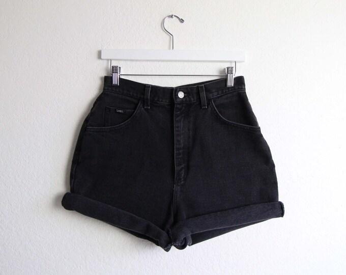 Vintage Denim Shorts Lee Jeans 1980s Blue High Waist Made in USA Womens Medium 28 Waist