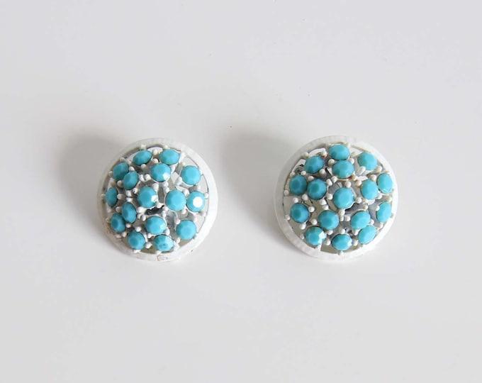 Vintage Earrings 1960s Round Clip Ons White Blue Rhinestone
