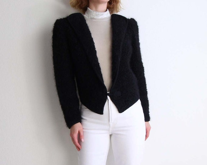 Vintage Black Cardigan 1980s Fuzzy Soft Mohair Womens Sweater Small