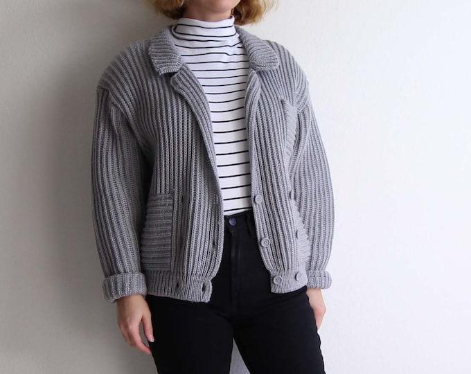 Vintage Gray Cardigan Womens Sweater Medium 1980s Knit