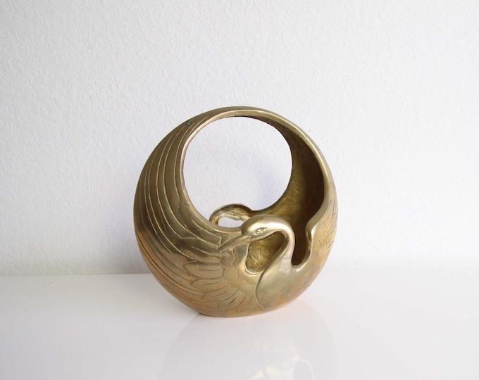 Vintage Brass Swan Vase Basket Decor
