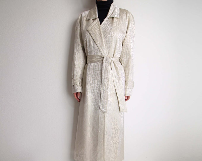 Vintage Trench Coat Womens Jacket Small Long White Gold