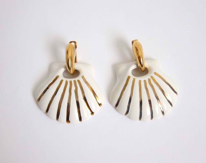 Vintage Earrings 1980s Shell Earrings Big Dangle White Gold Pierced Vintage Jewelry