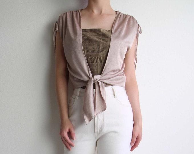Vintage Tie Top Crop Top 1970s Mauve Womens Top Small Medium