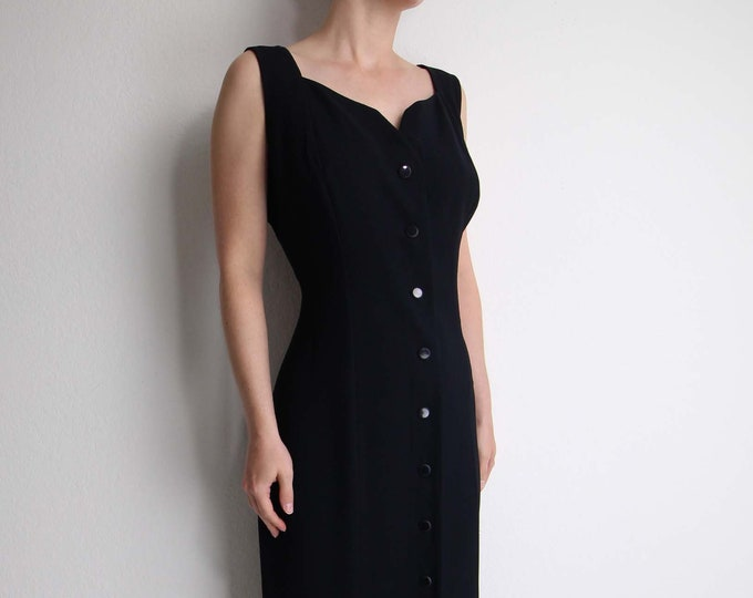 Vintage Black Dress 1990s Gown Sleeveless Long Womens Large