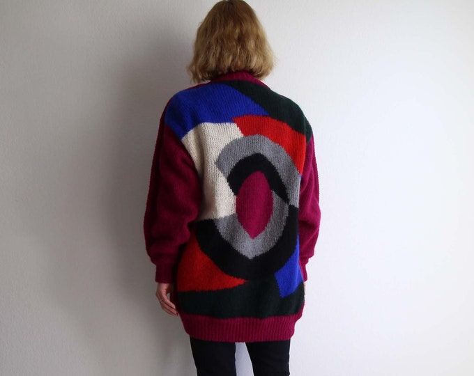 Vintage Geometric Cardigan Womens Sweater Medium 1980s Mohair Pink