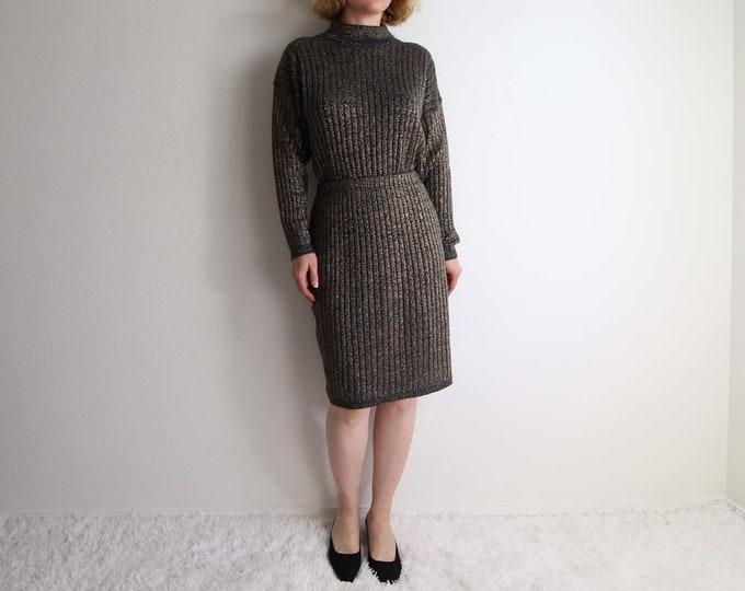 Vintage Gold Sweater Knit Skirt Set 1980s Metallic Knits Womens Medium