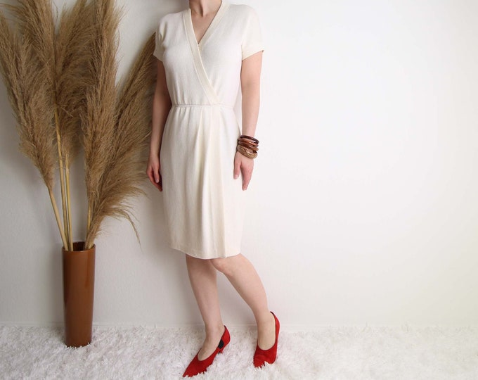 Vintage St John Knit Dress White Cream Womens Small