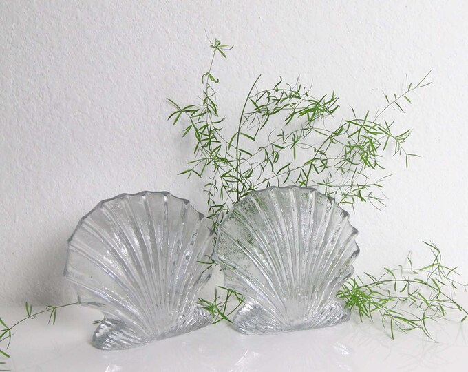 Vintage Bookends Shell Glass Clear Heavy 1980s Home Decor