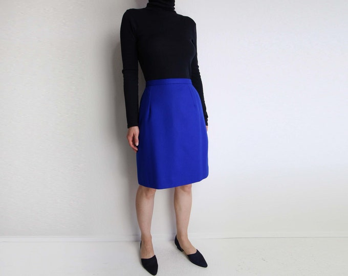 SALE Vintage Skirt Cobalt Blue Skirt Wool Pencil Short Small
