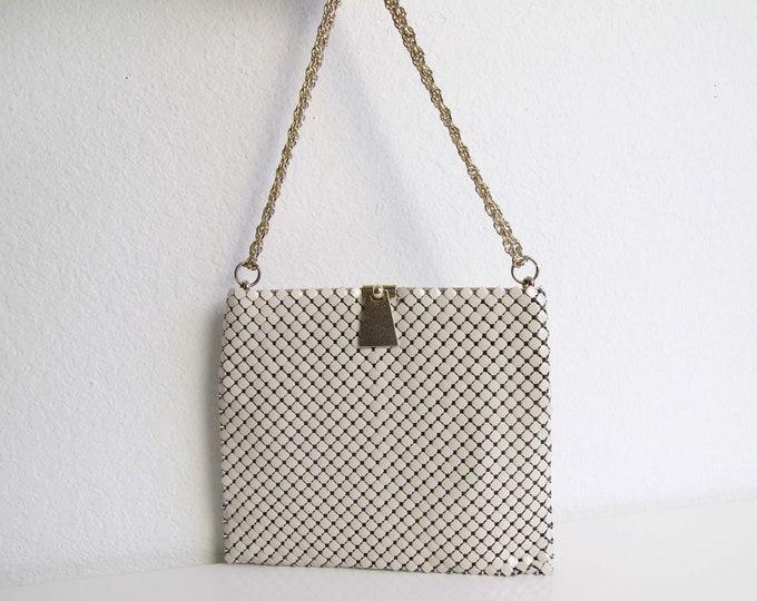 Vintage Whiting Davis Mesh Bag Art Deco Evening Bag White Gold Chain
