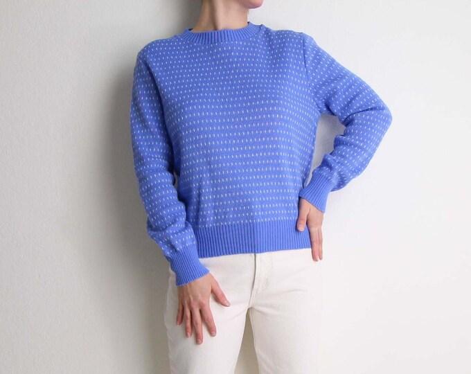 Vintage Womens Sweater Medium Blue White 1980s Knit
