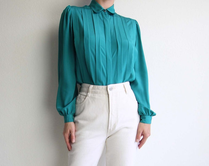 Vintage Green Blouse 1980s Womens Top Longsleeve Small