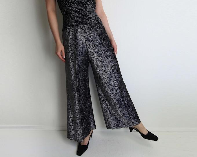 Vintage Pants Womens 1970s Pants Metallic Silver Wide Leg Short Small