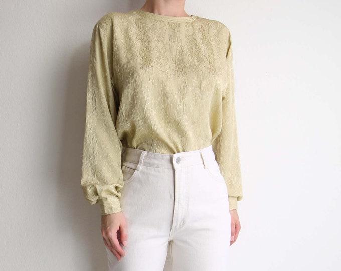 Vintage Gold Blouse Womens Top Medium 1980s Longsleeve