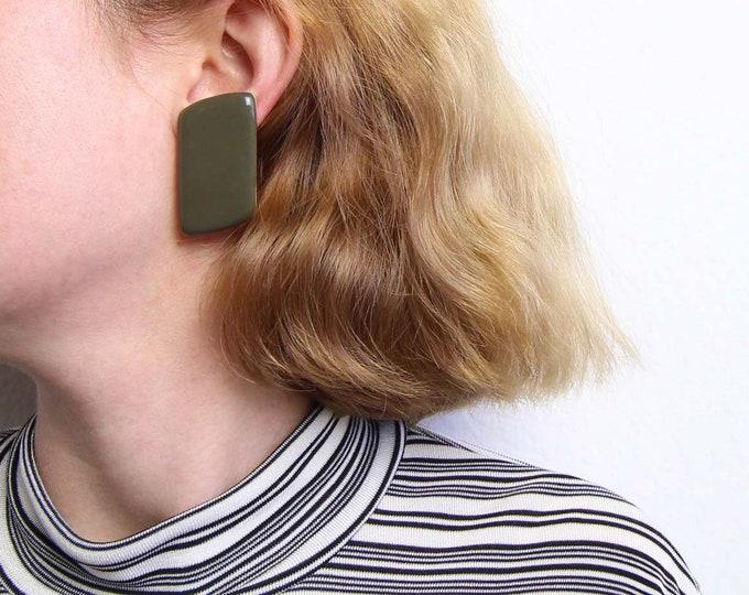 Vintage 1980s Big Earrings Geometrical Clip Ons Green