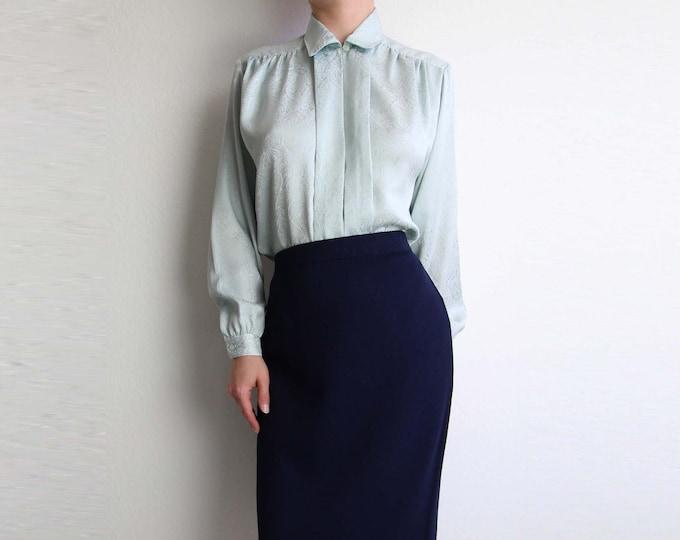 Vintage Blouse Mint Green Top 1980s Brocade Longsleeve Womens Shirt Small