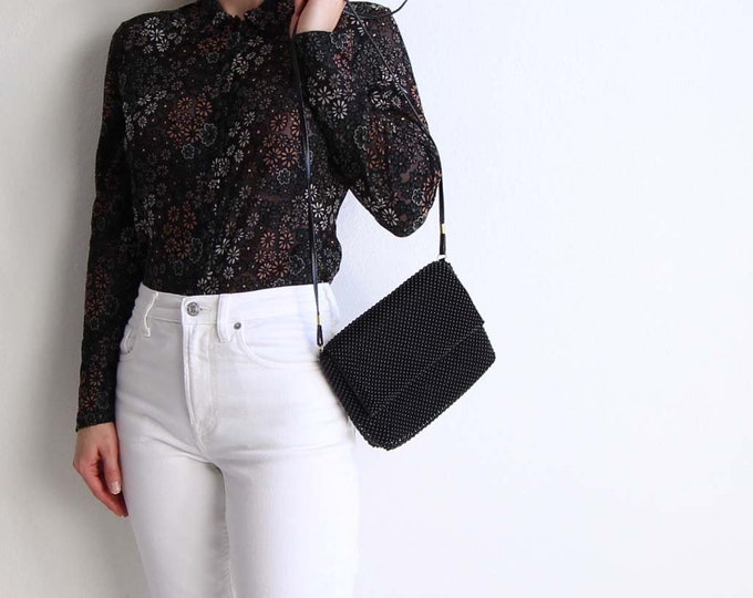 Vintage Evening Bag Black Beaded Purse
