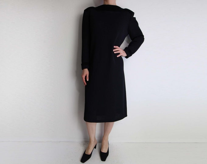 Vintage Black Dress Womens Size Large 1980s Knit Chenille Shift