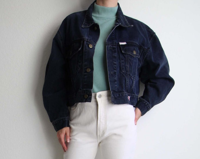 Vintage Denim Jacket GUESS Jean Jacket Womens Large Midnight Blue Cropped
