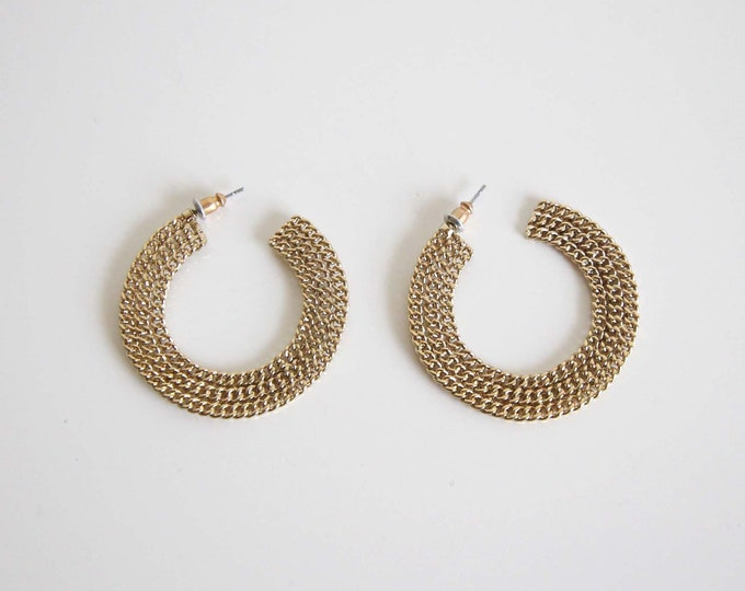 Vintage Hoop Earrings 1980s Gold Chain Pierced