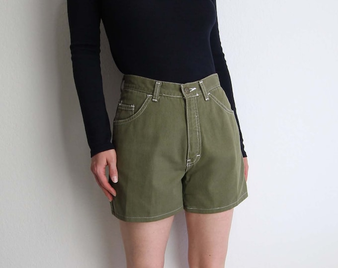 Vintage Jean Shorts Womens Denim Shorts 1990s Moss Green Small 26 Made in USA