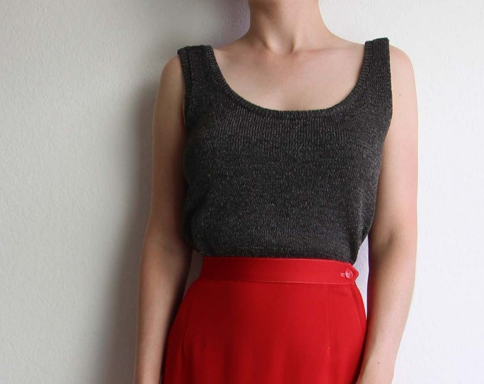 Vintage Tank Top Womens Top Knit Gravel Gray Small