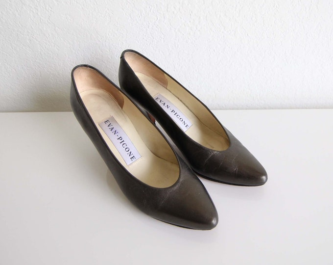 Vintage Heels Womens Size 6 Metallic Shoes 1980s Pewter Leather Pumps