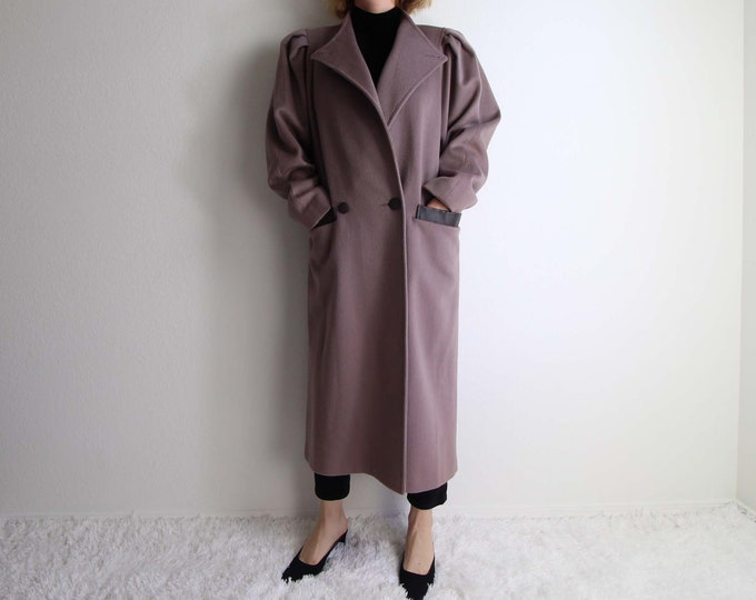 Vintage Coat Womens Medium 1980s Mauve Wool Leather New Wave Long
