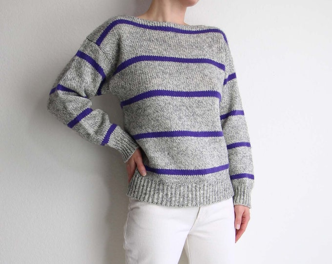 Vintage Stripe Sweater Diane von Furstenberg 1980s Knit Womens Small