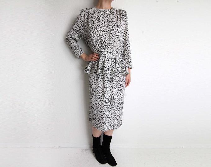 Vintage 1980s Dress Black White Peplum Womens Dress Medium