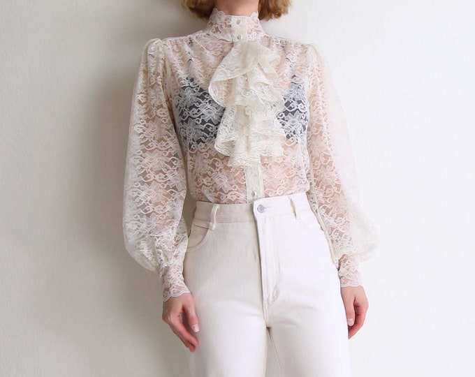Vintage Lace Blouse Ivory Lace Ruffle Womens Top Medium