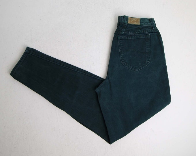Vintage Jeans Womens 30 Green Denim 1990s Lee Jeans Large Tall High Waist Tapered Leg Made in USA